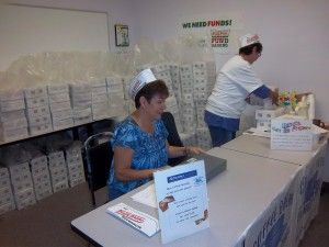 volunteers selling in office